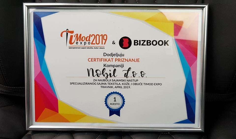 "Tvornica madraca ""Nobil"" osvojila prvo mjesto za najbolji sajamski nastup na sajmu Timod Expo 2019."