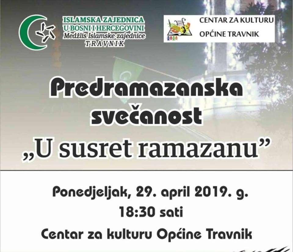 """Danas u Centru za kulturu u Travniku svečanost """"U susret ramazanu"""""""