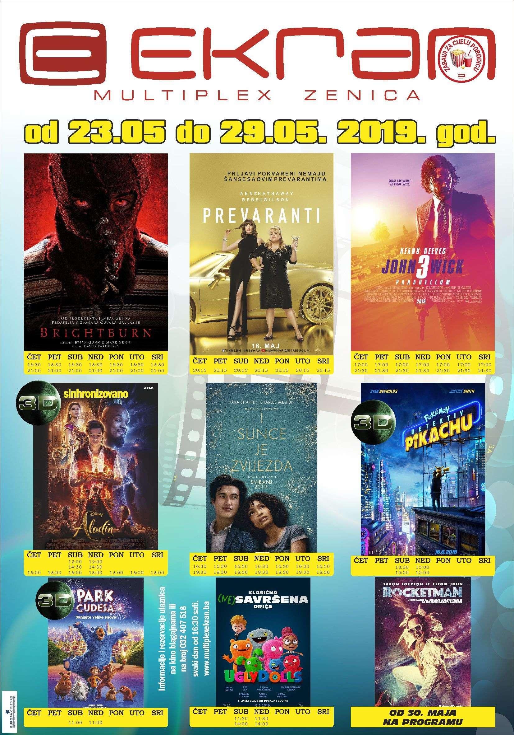 "sf horor ""brightburn"", romantična drama ""i sunce je zvijezda"" i avantura ""aladin"" novi filmovi na programu multiplexa ""ekran"" zenica"