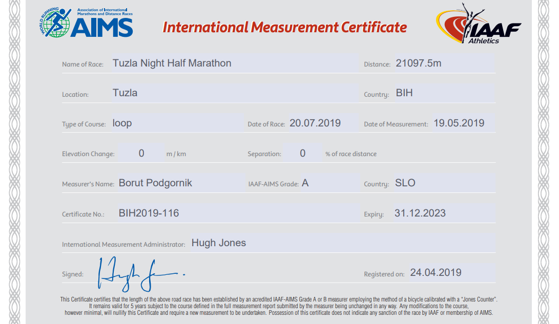 tuzlanski polumaraton dobio aims certifikat