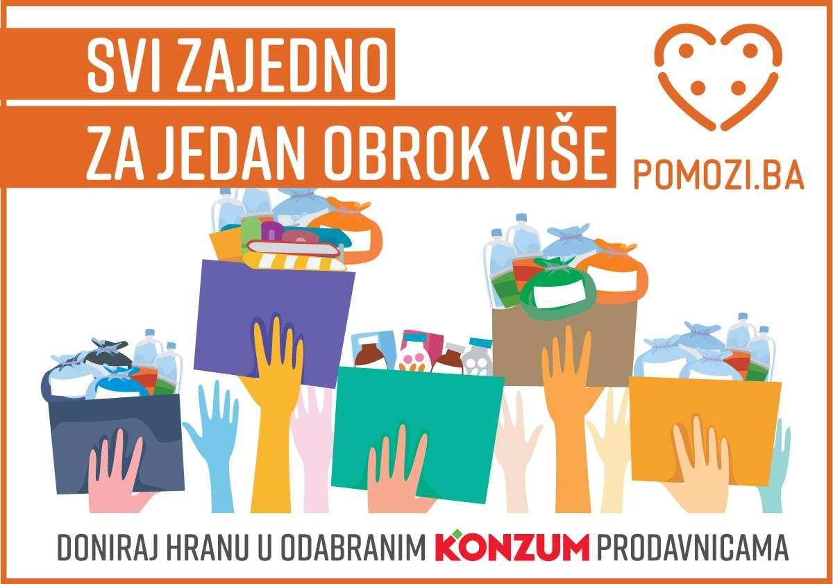 """Pomozi.ba i Konzum pokrenuli humanitarni projekat """"Svi zajedno za jedan obrok više"""""""