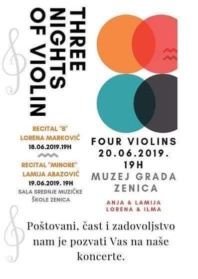 """u zenici u toku violinske večeri """"three nights of violin"""""""