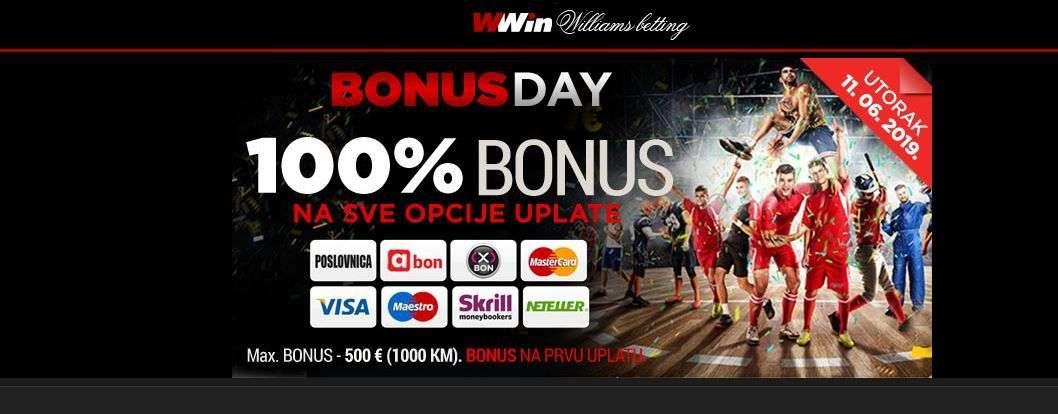 wwin - bonus day - 100% bonus na sve opcije uplate
