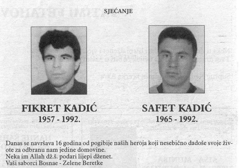 sjećanje na braću fikreta i safeta kadića, heroje odbrane grada i države