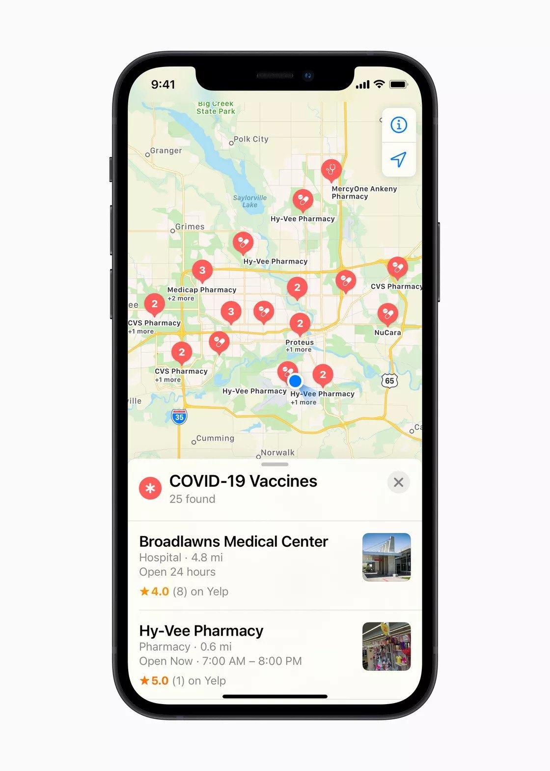 Apple Maps će prikazivati mjesta za cijepljenje protiv COVID-19