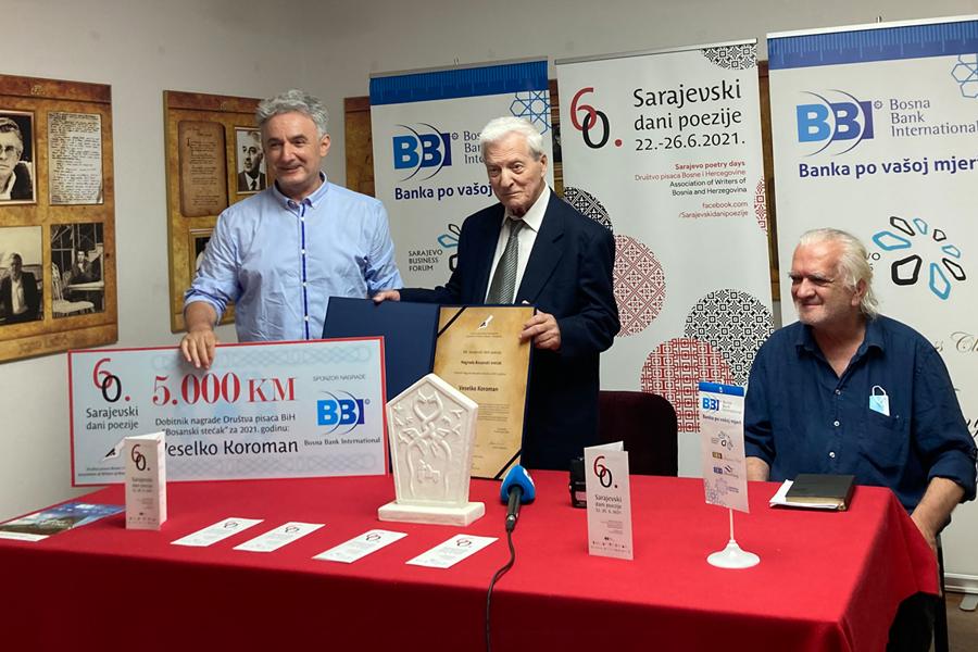 """BBI banka sponzor nagrade 60. Sarajevskih dana poezije """"Bosanski stećak"""""""