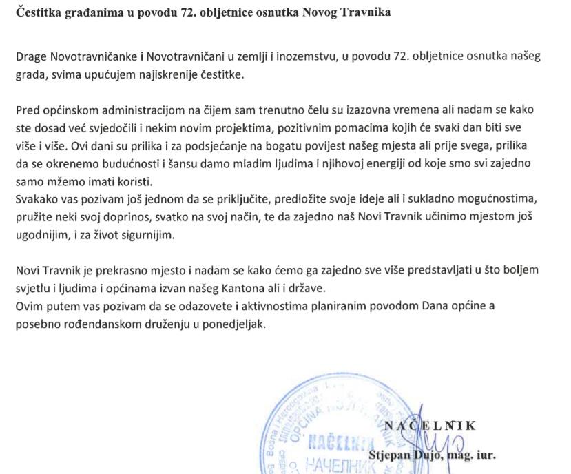 Načelnik Dujo čestitao 72. rođendan Novog Travnik